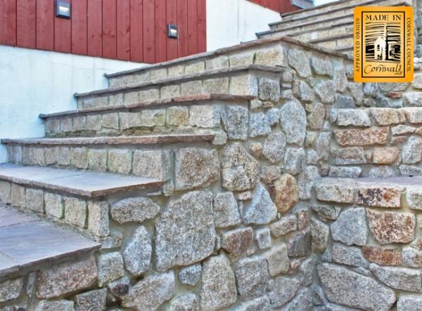 Sawn granite walling stone used to create steps
