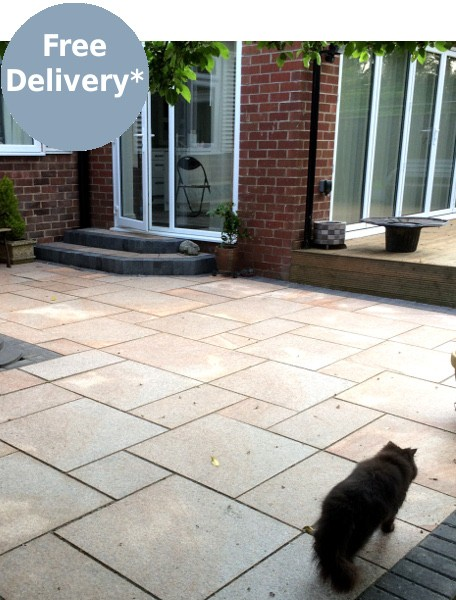 Brown granite paving used on a patio area