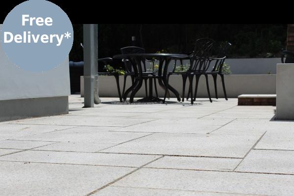 Close up of brown granite patio paving