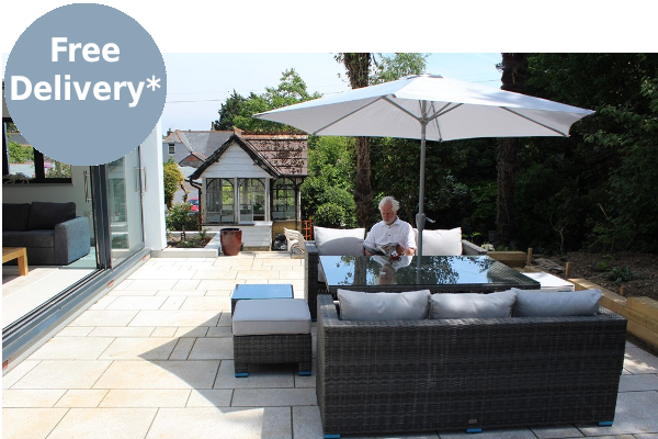 Brown granite paving for an outdoor sitting area