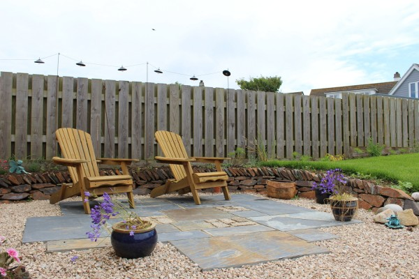 Rustic slate paving used on patio area