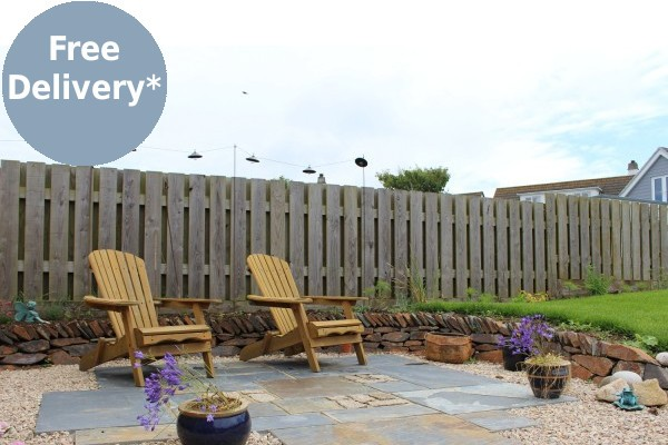 Rustic slate paving used on patio area
