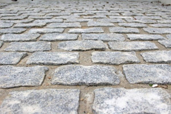 Silver grey granite setts used to create a driveway