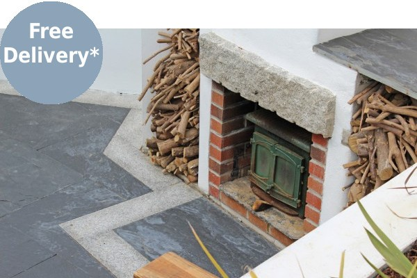 Patio paving slabs used to create a fireplace