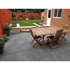 Black porcelain paving slabs