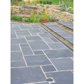 Black limestone paving mixed