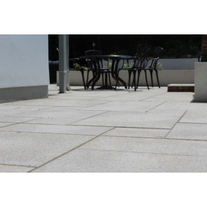 Close up of brown granite patio paving