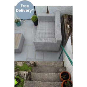 Dark grey granite paving slabs