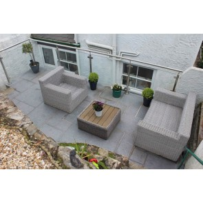 Dark grey granite paving outside room