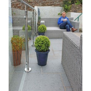 Dark grey granite paving