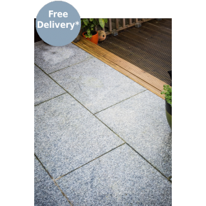 Silver grey paving slabs for use on a patio
