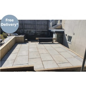 Grey sandstone patio paving