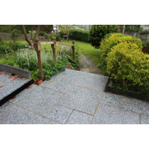 Silver greanite paving slabs used on a pathway