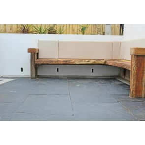 Slate paving slabs used on a patio sitting area