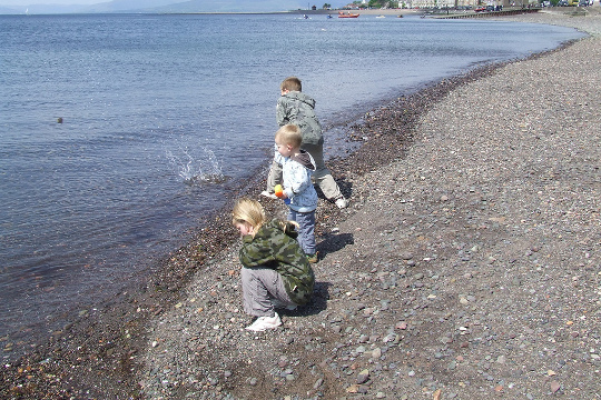 Children skimming stones